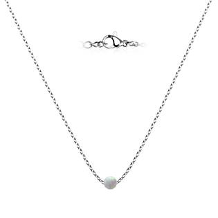 NBP60-OP17 Ocelový opálový náhrdelník - kulička 5 mm