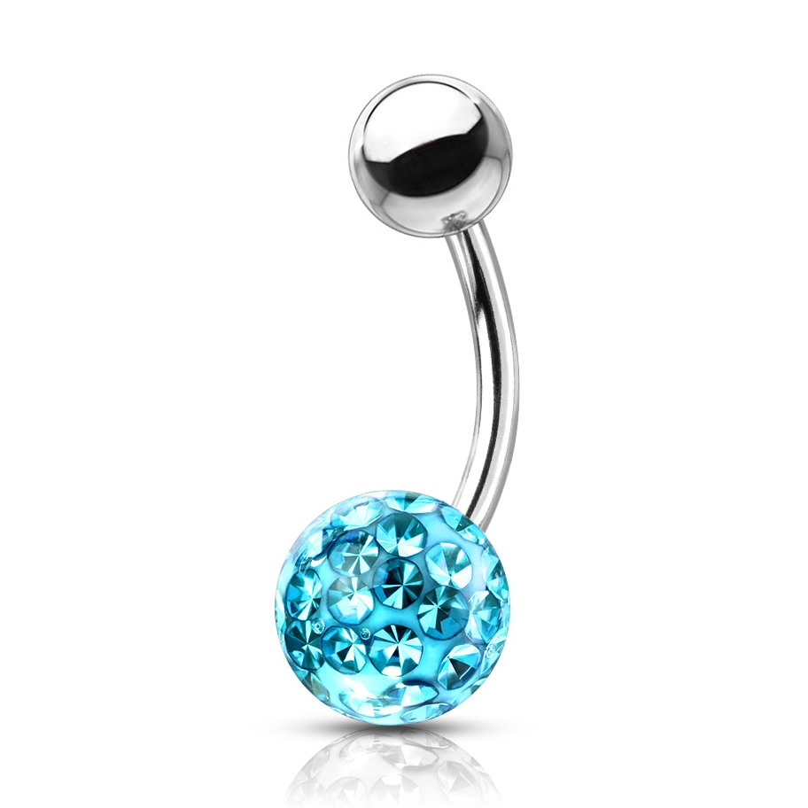 Piercing do pupíku s kamínky Crystals From Swarovski® kulička 8mm