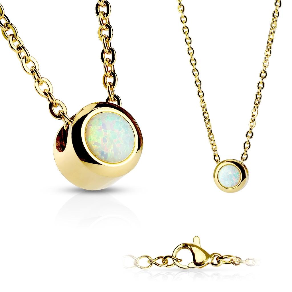 Zlacený ocelový náhrdelník s opálem bílé barvy OPD0013-OP17