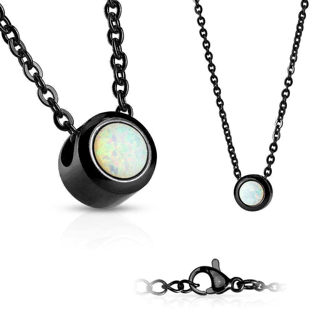 Černý ocelový náhrdelník s opálem bílé barvy OPD0014-OP17