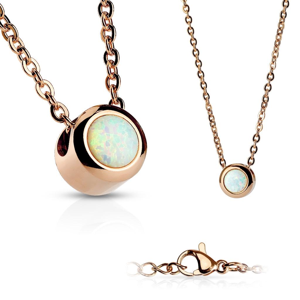 Zlacený ocelový náhrdelník s opálem bílé barvy OPD0012-OP17