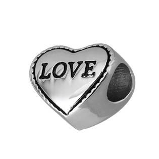 Navlékací ocelový přívěšek korálek - srdíčko Love