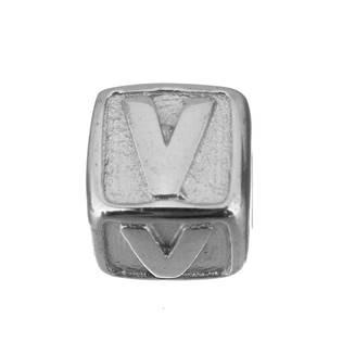"""Navlékací ocelový přívěšek korálek - písmeno """"V"""""""