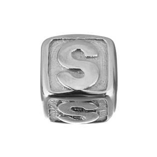 """Navlékací ocelový přívěšek korálek - písmeno """"S"""""""