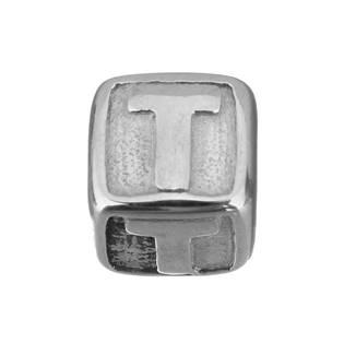 """Navlékací ocelový přívěšek korálek - písmeno """"T"""""""