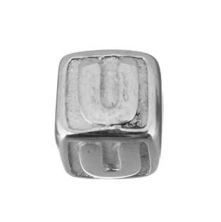 """Navlékací ocelový přívěšek korálek - písmeno """"U"""""""