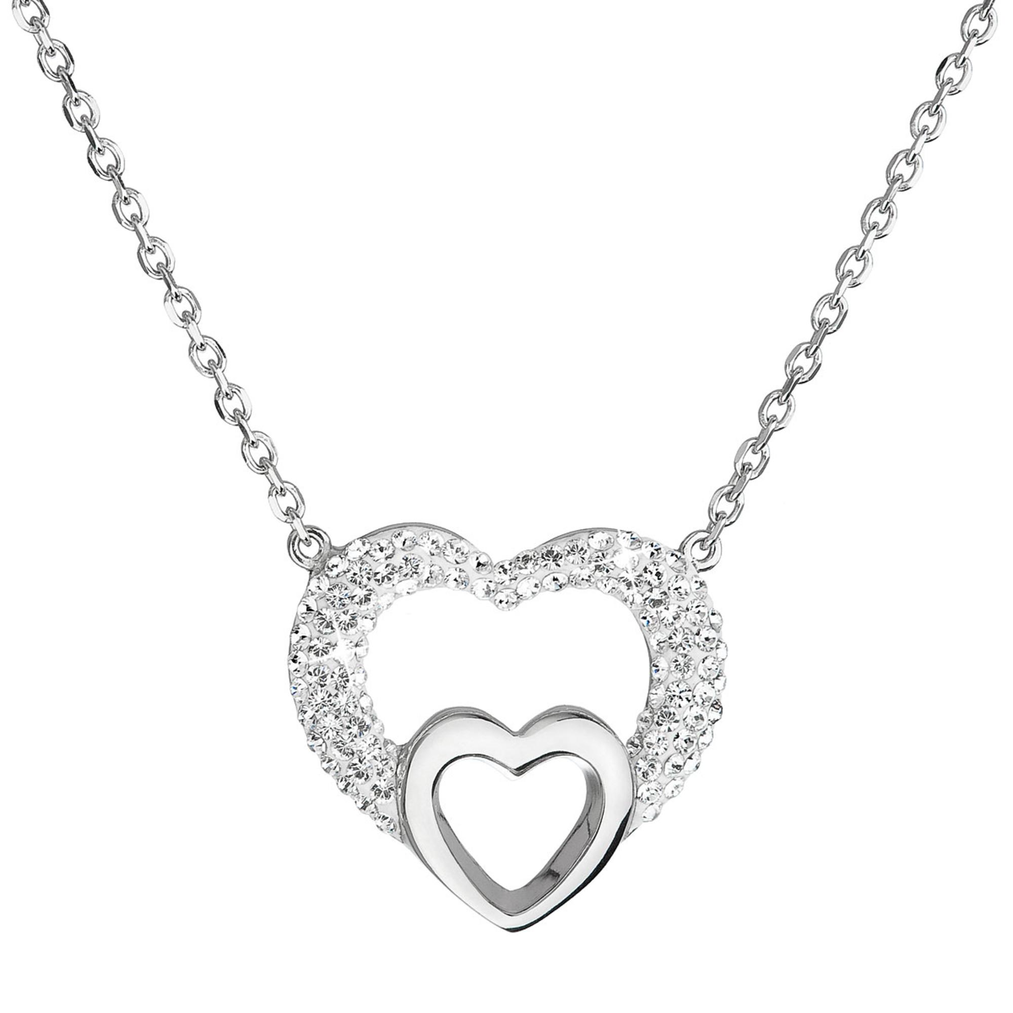 Stříbrný náhrdelník se srdíčky - Crystals from Swarovski® EG4012-CR