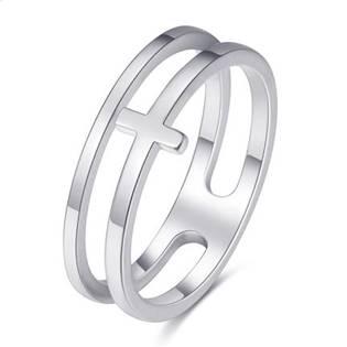 OPR1843 Dvojitý ocelový prsten s křížkem vel. 50
