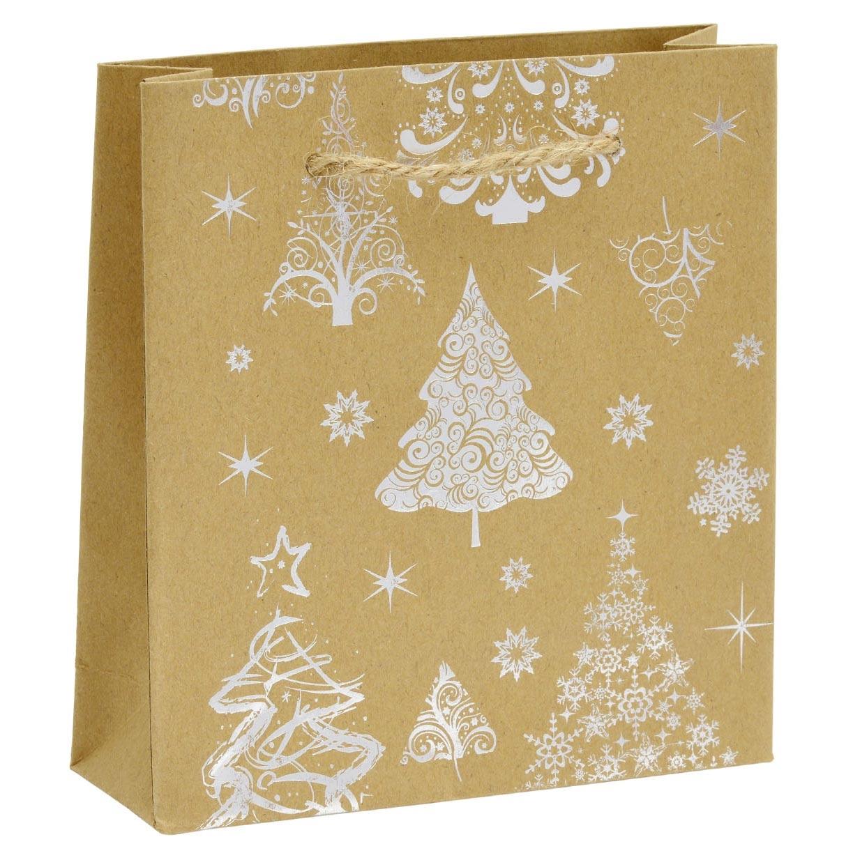 Vánoční dárková taška - stříbrný motiv