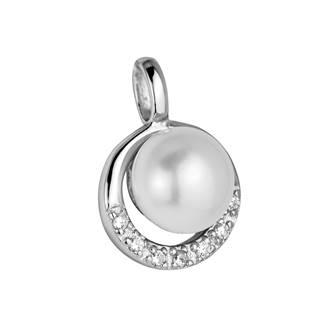Stříbrný přívěšek s perličkou a zirkony
