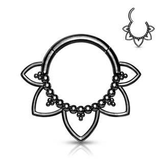 Černý ocelový piercing do nosu - septum