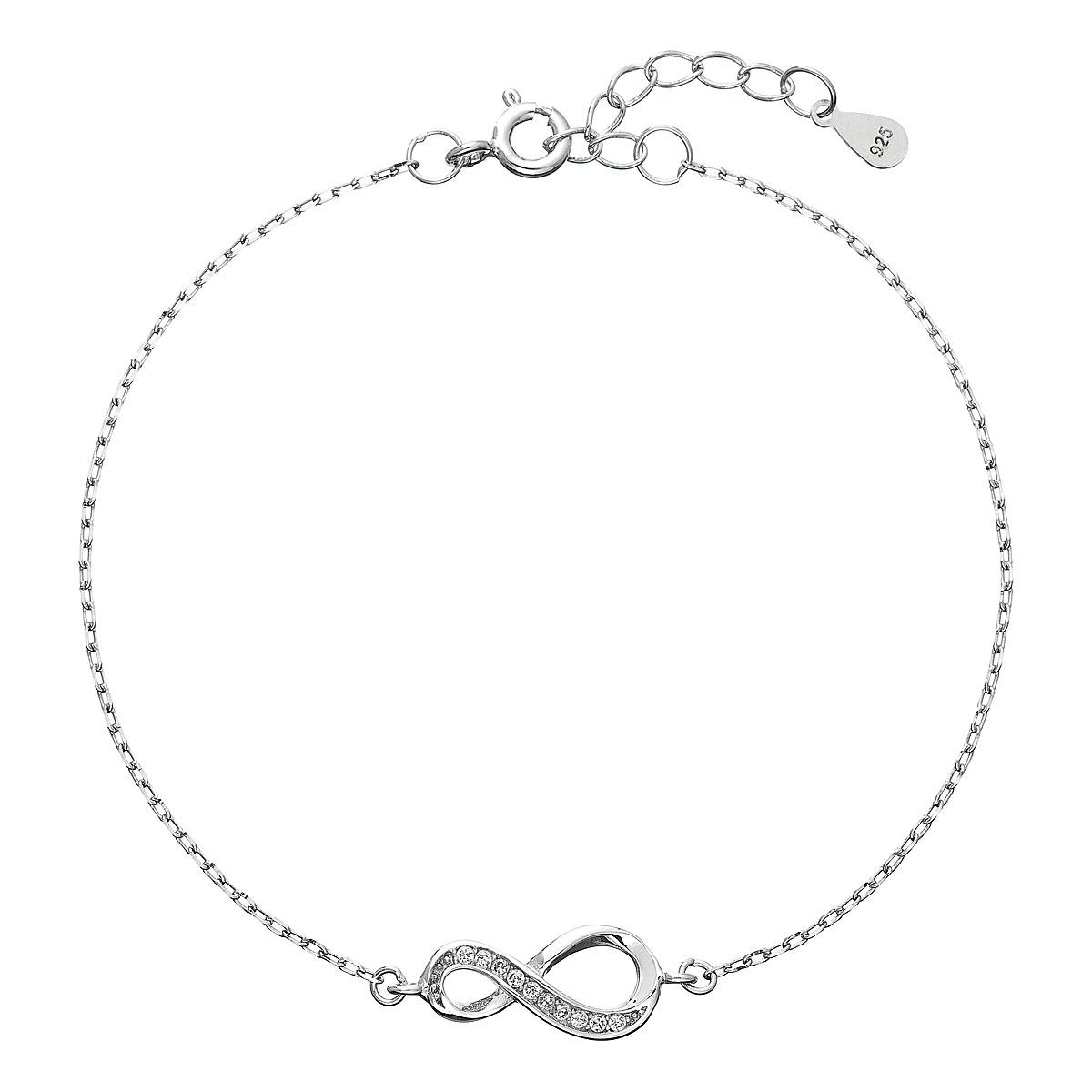 Stříbrný náramek se zirkony infinity EG7065