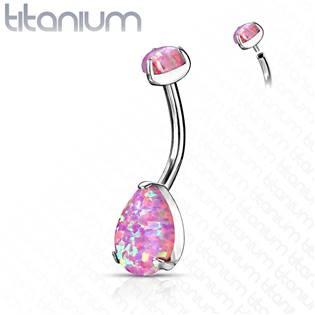 Piercing do pupíku - TITAN, růžový opál