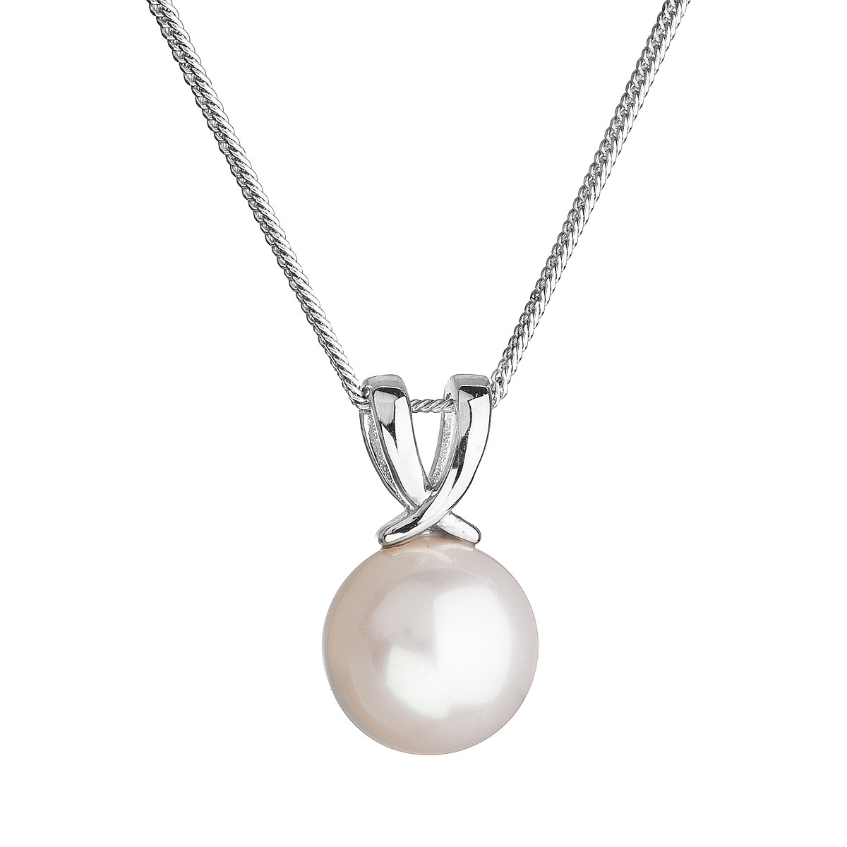 Stříbrný náhrdelník s kulatou říční perlou EG4259