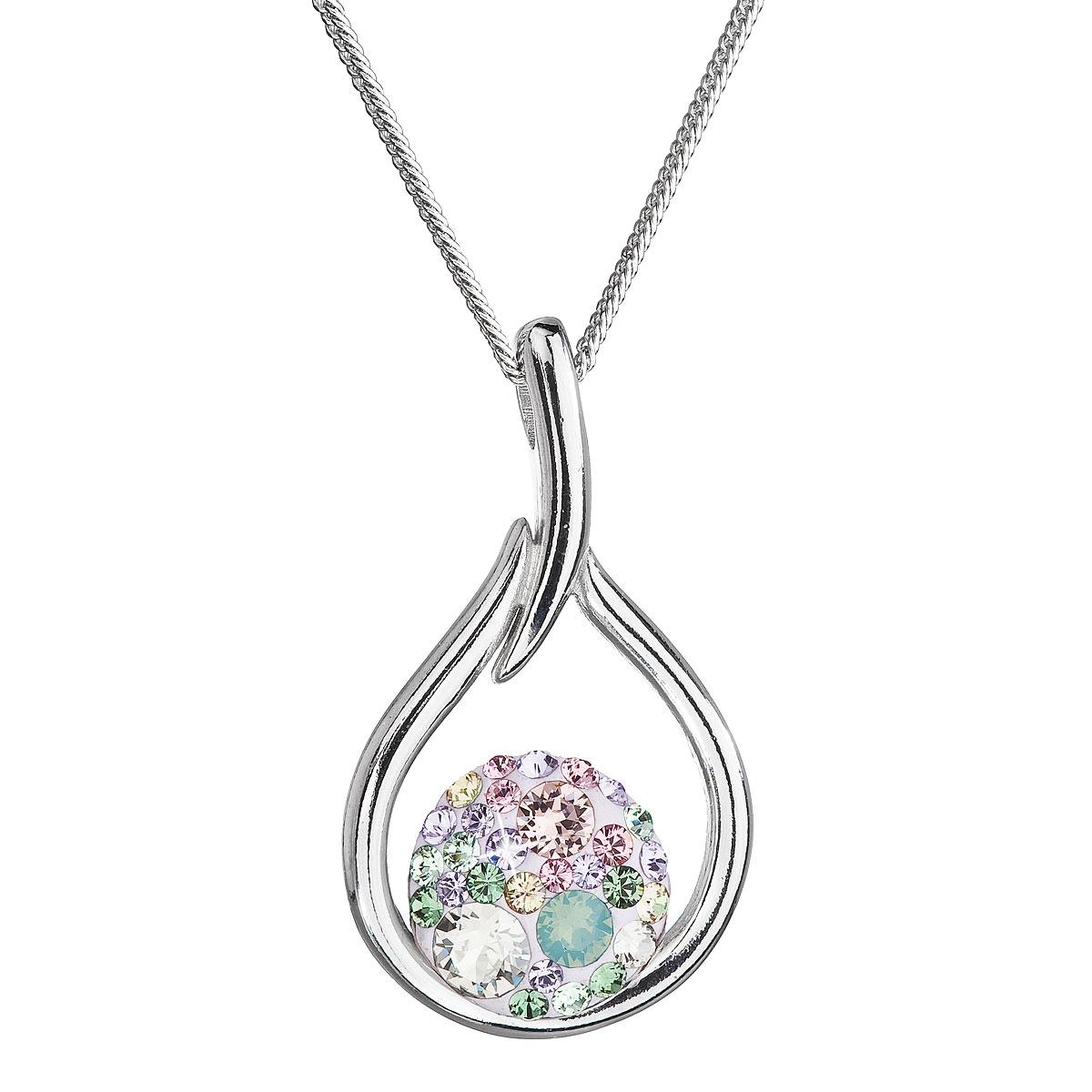 Stříbrný náhrdelník se Swarovski krystaly kapka, Sakura EG4258-SK