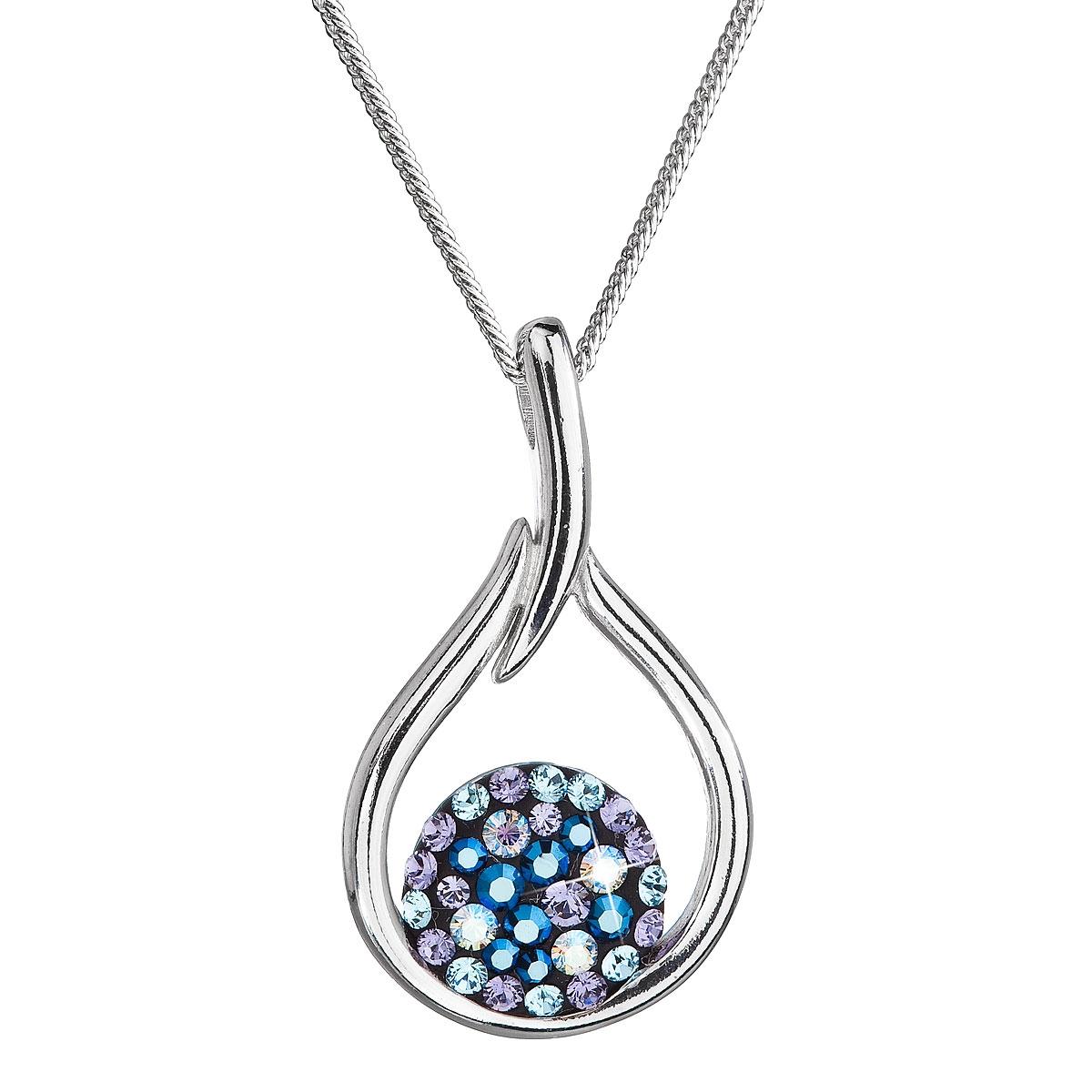 Stříbrný náhrdelník se Swarovski krystaly kapka, Blue Style EG4258-BS