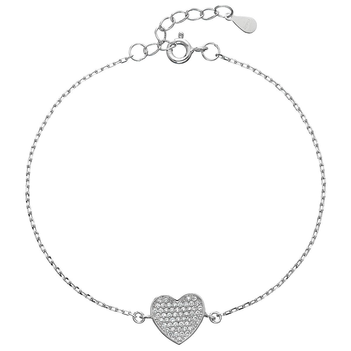 Stříbrný náramek se zirkony srdce EG7061