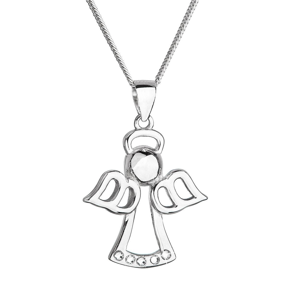 Stříbrný náhrdelník anděl se Swarovski krystaly bílý EG4251