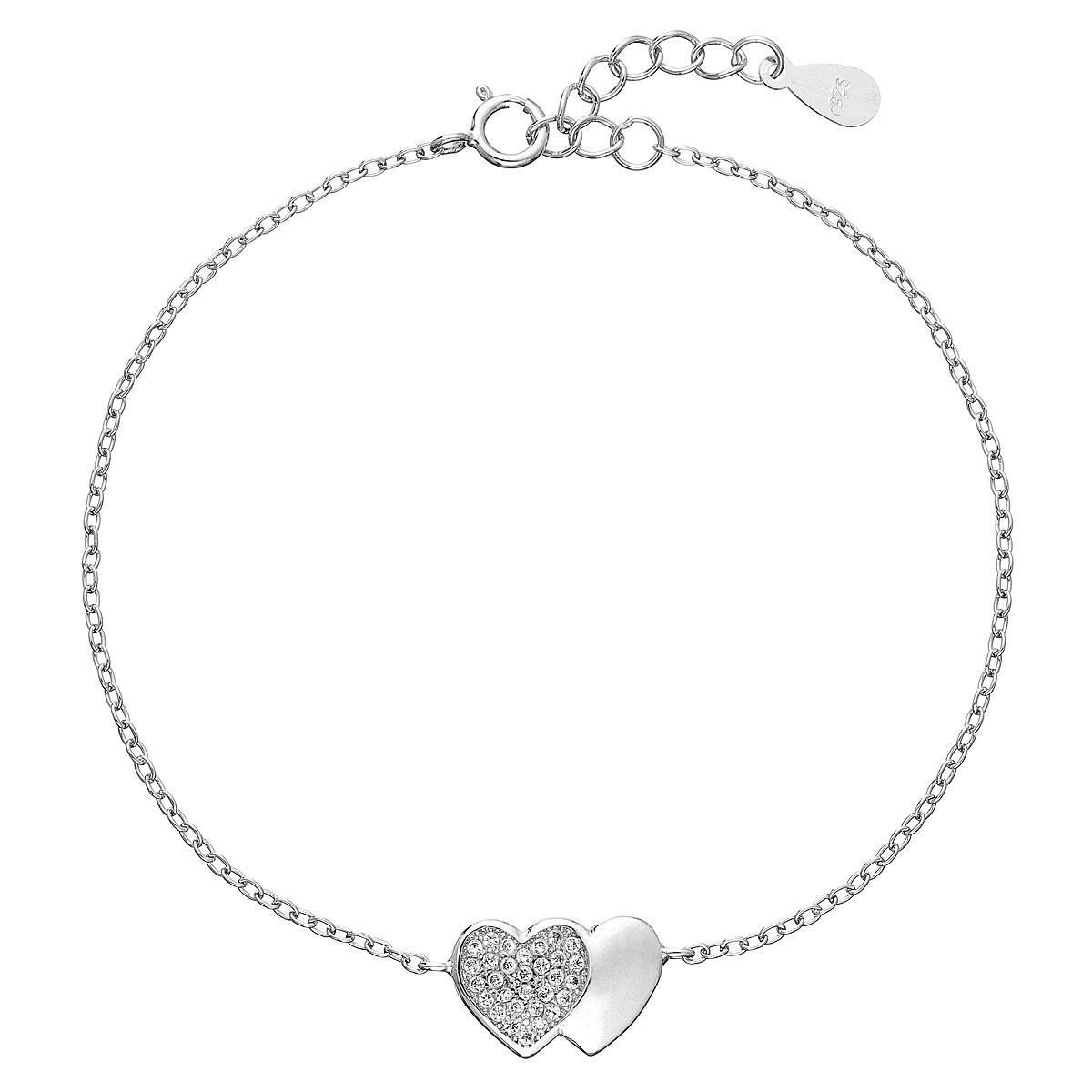 Stříbrný náramek se zirkony srdce EG7062