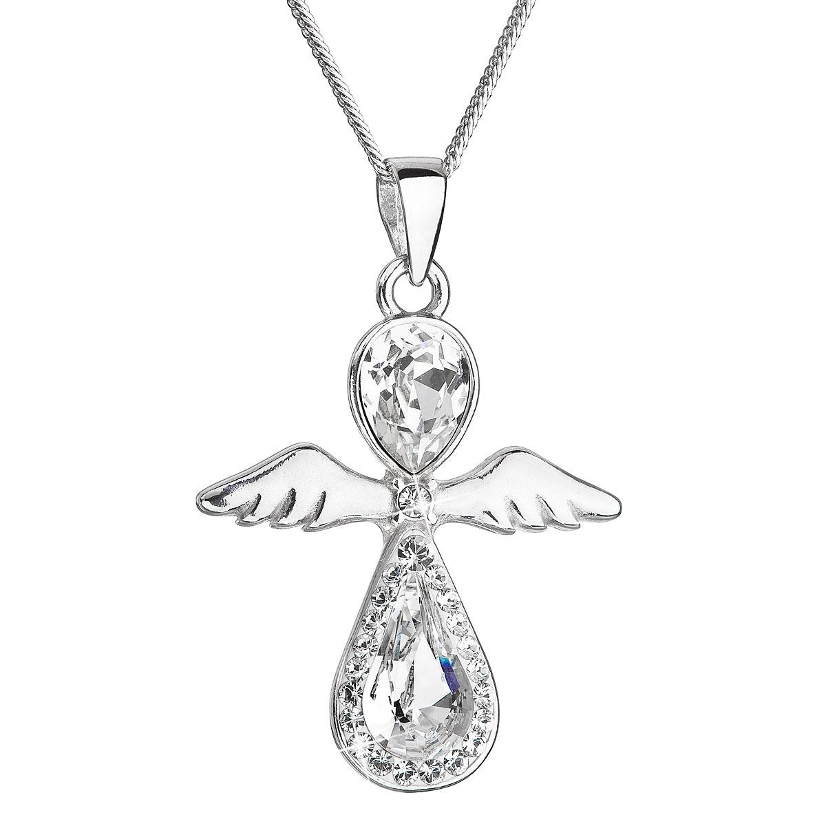 Stříbrný náhrdelník anděl se Swarovski krystaly bílý EG4250