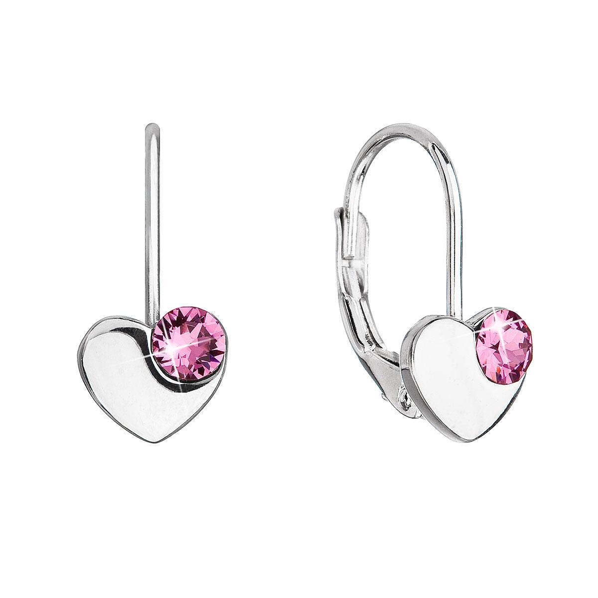 Stříbrné náušnice srdíčka se Swarovski krystaly, Rose EG2886-RO