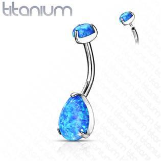 Piercing do pupíku - TITAN, modrý opál