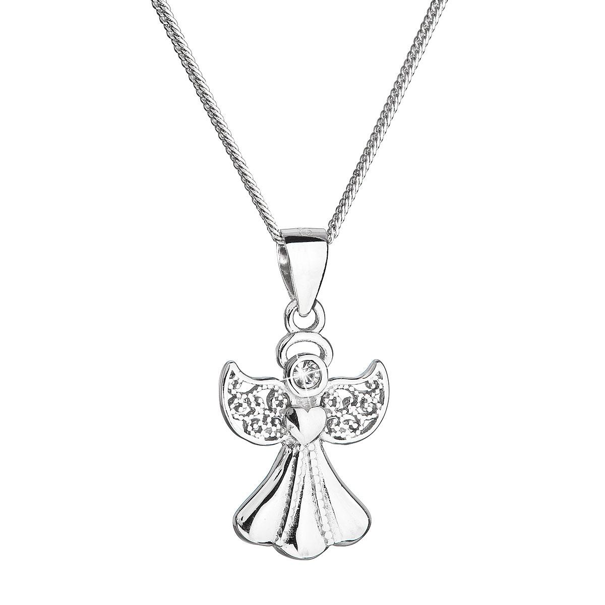 Stříbrný náhrdelník anděl se Swarovski krystaly bílý EG4252