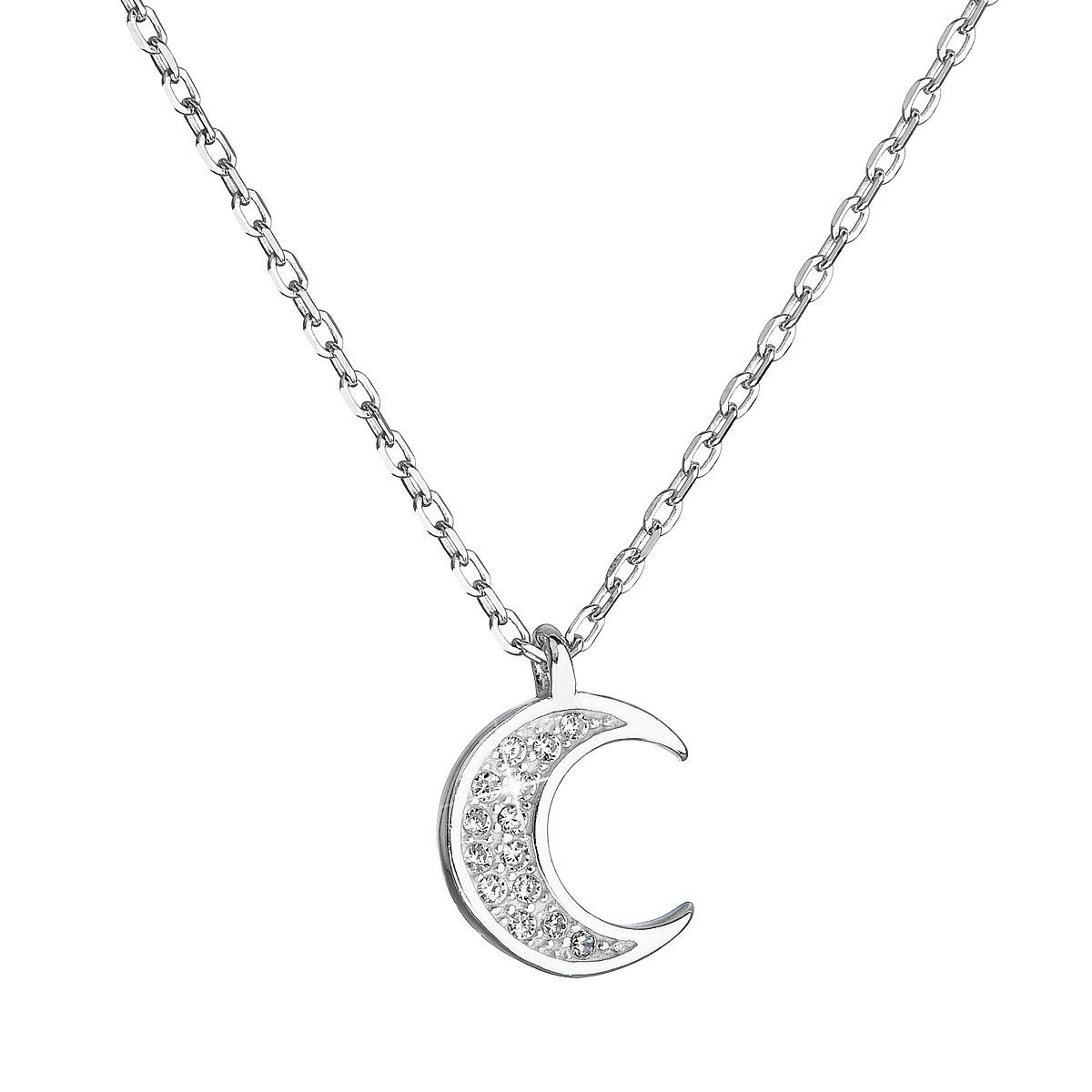Stříbrný náhrdelník se zirkony bílý půlměsíc EG4255