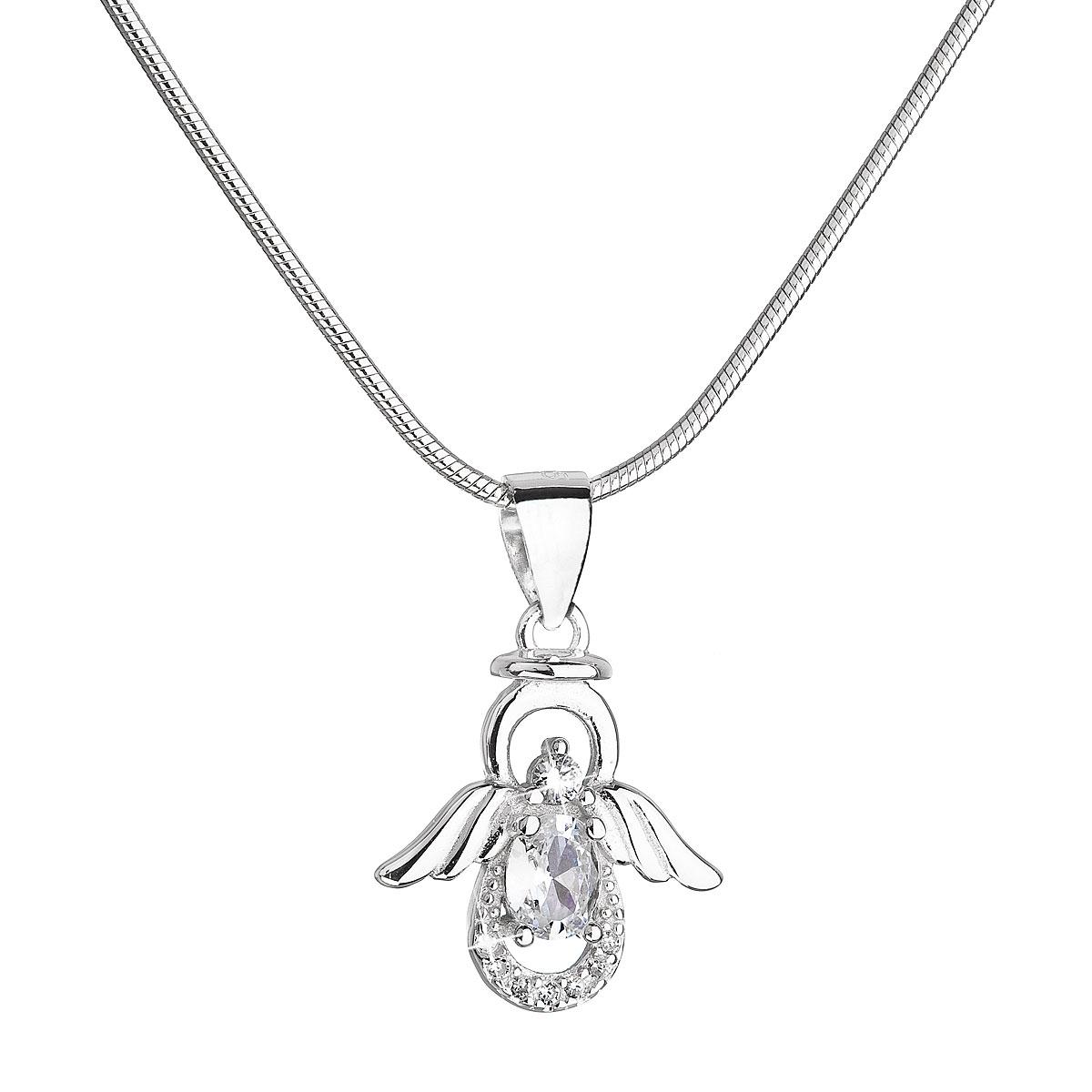 Stříbrný náhrdelník anděl s třpytivými zirkony EG4249