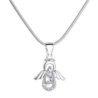 Stříbrný náhrdelník anděl s třpytivými zirkony