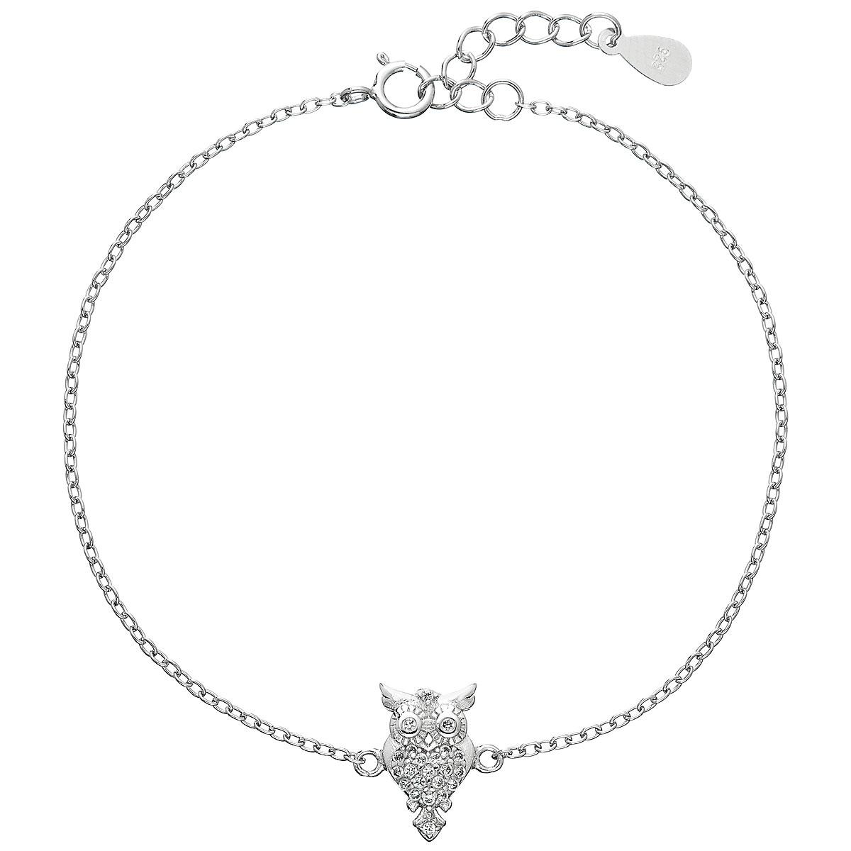 Stříbrný náramek se zirkony sovička EG7063