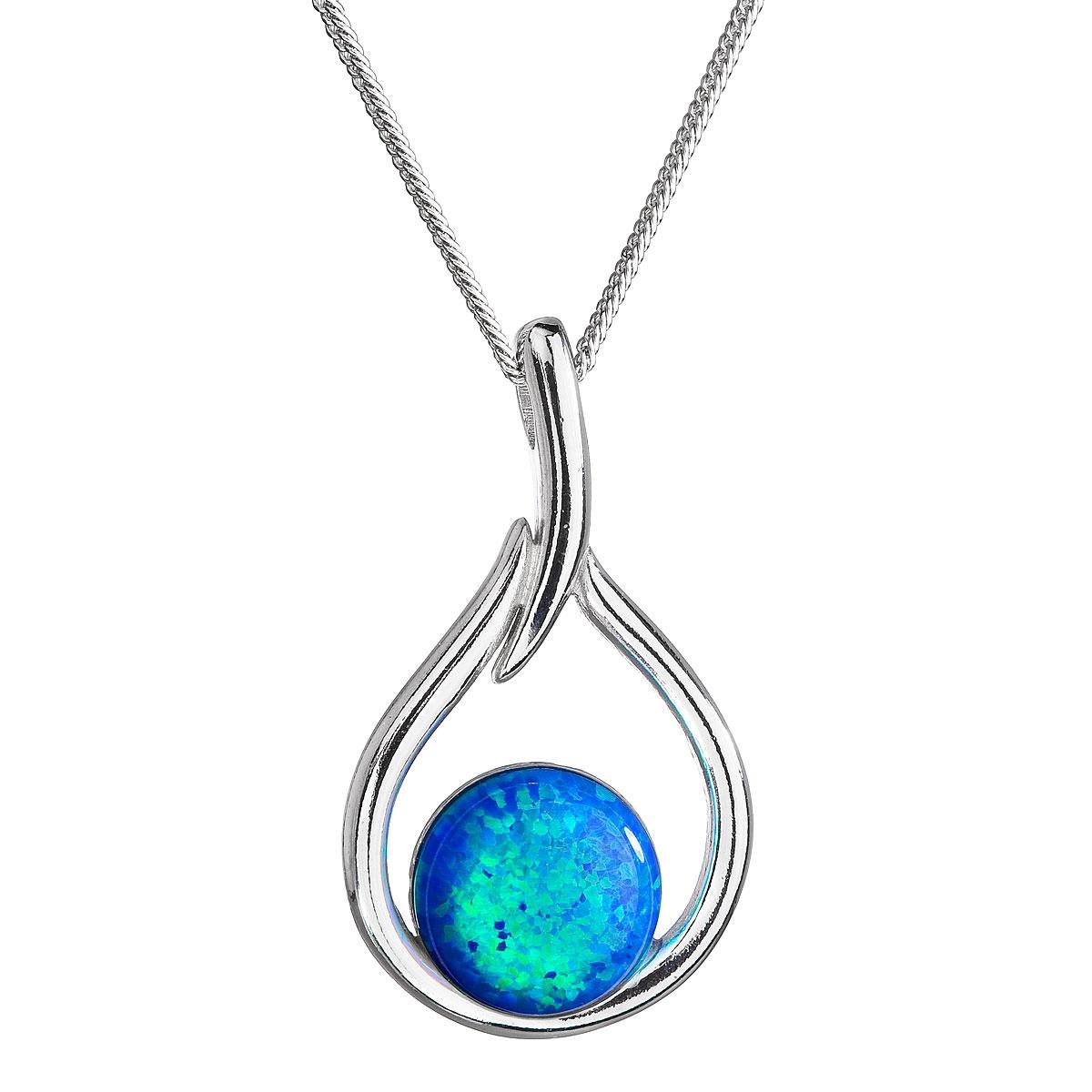 Stříbrný náhrdelník se syntetickým opálem modrá kapka EG4254-OP05