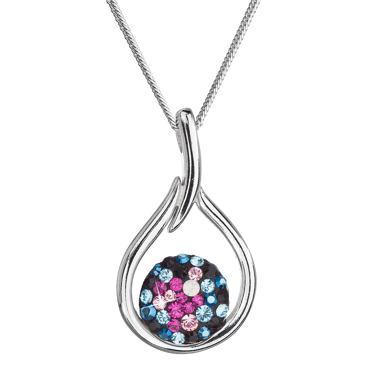 Stříbrný náhrdelník se Swarovski krystaly kapka, Galaxy EG4258-GX