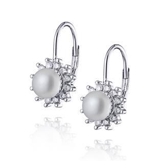 NB-3027 Stříbrné perlové náušnice se zirkony