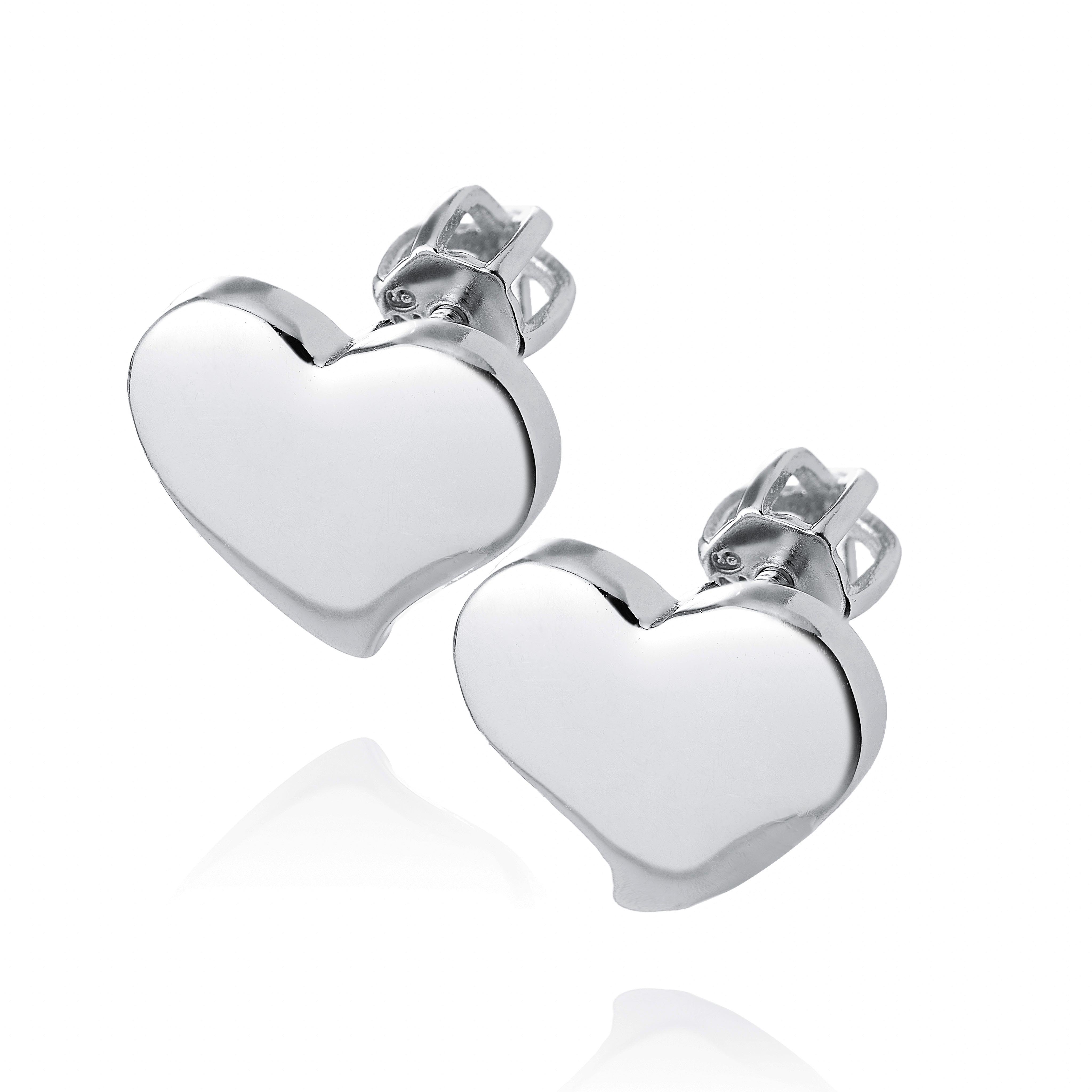 Stříbrné šroubovací náušnice srdce