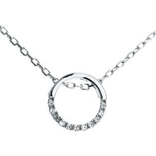 NB-2116 Střibrný náhrdelník kolečko se zirkony