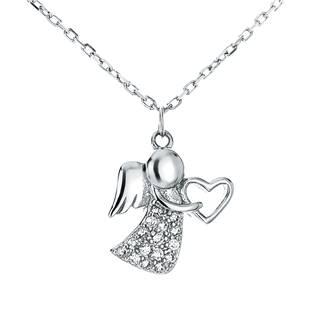 NB-2131 Střibrný náhrdelník - andílek se zirkony