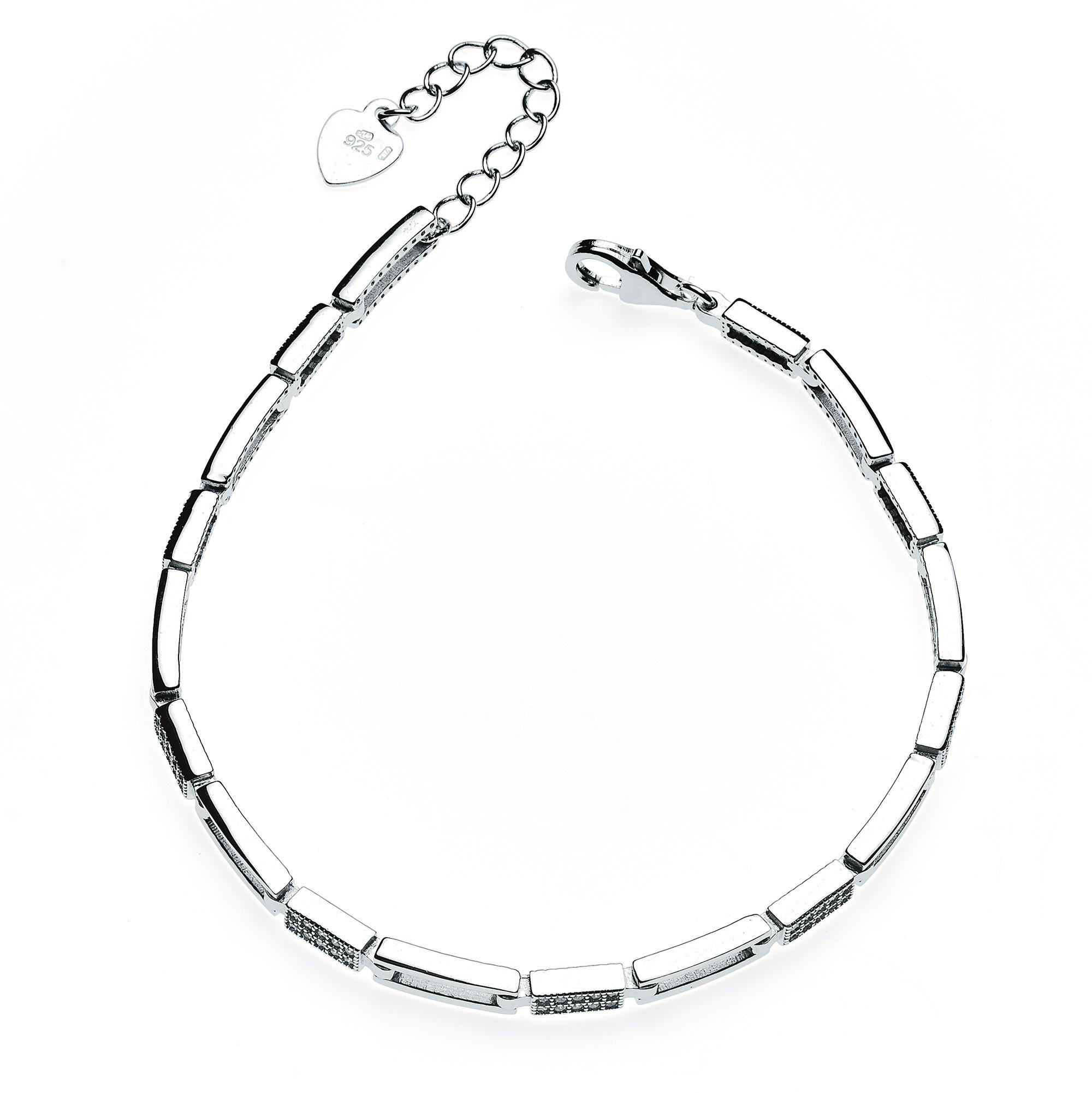 Dámský stříbrný náramek se zirkony NB-1062