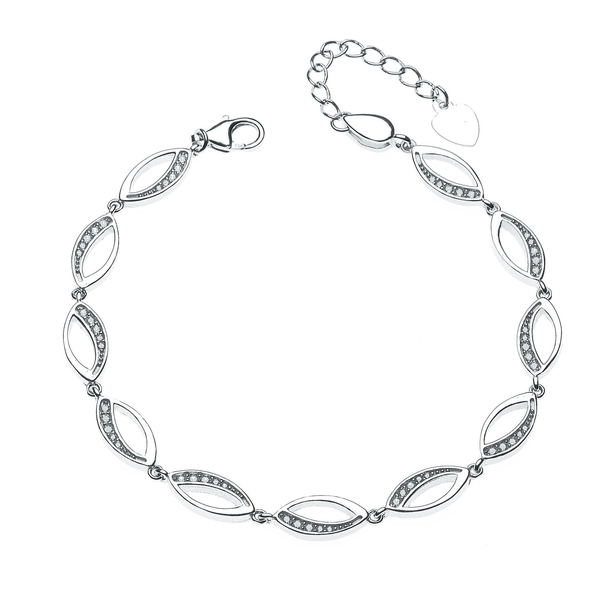 Dámský stříbrný náramek se zirkony NB-1067