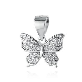 NB-4100 Stříbrný přívěšek motýlek se zirkony