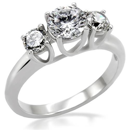 Ocelový prsten se zirkony