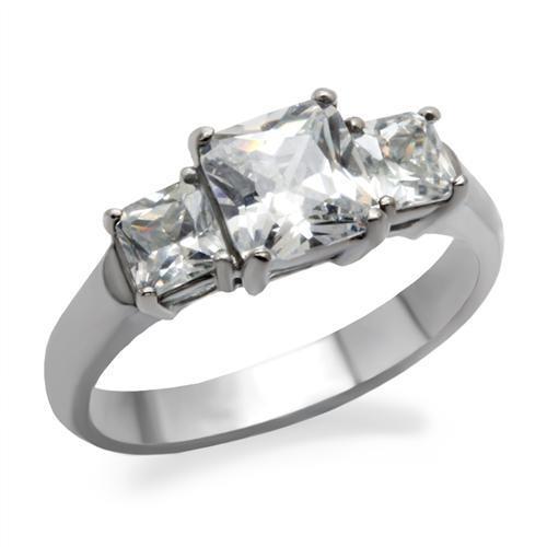 Ocelový prsten s hranatými zirkony