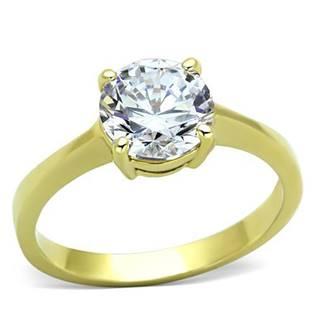Levně Ocelový prsten se zirkonem - velikost 49 - AL-0014-49