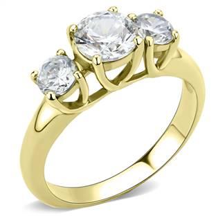 Levně Zlacený ocelový prsten se zirkony - velikost 57 - AL-0048-57