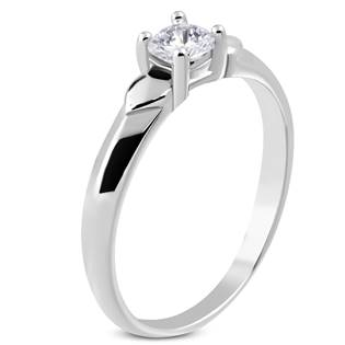 Ocelový prsten se zirkonem, vel. 48