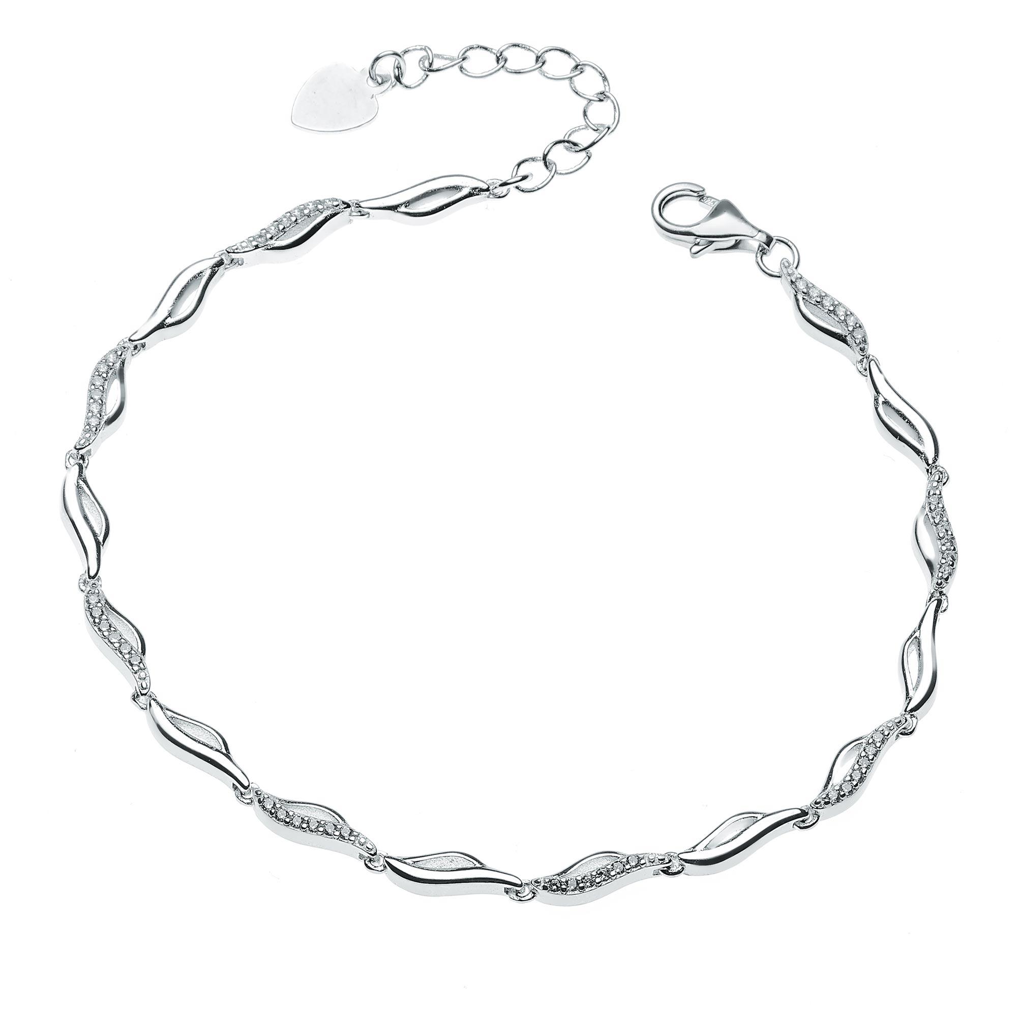 Dámský stříbrný náramek se zirkony NB-1069