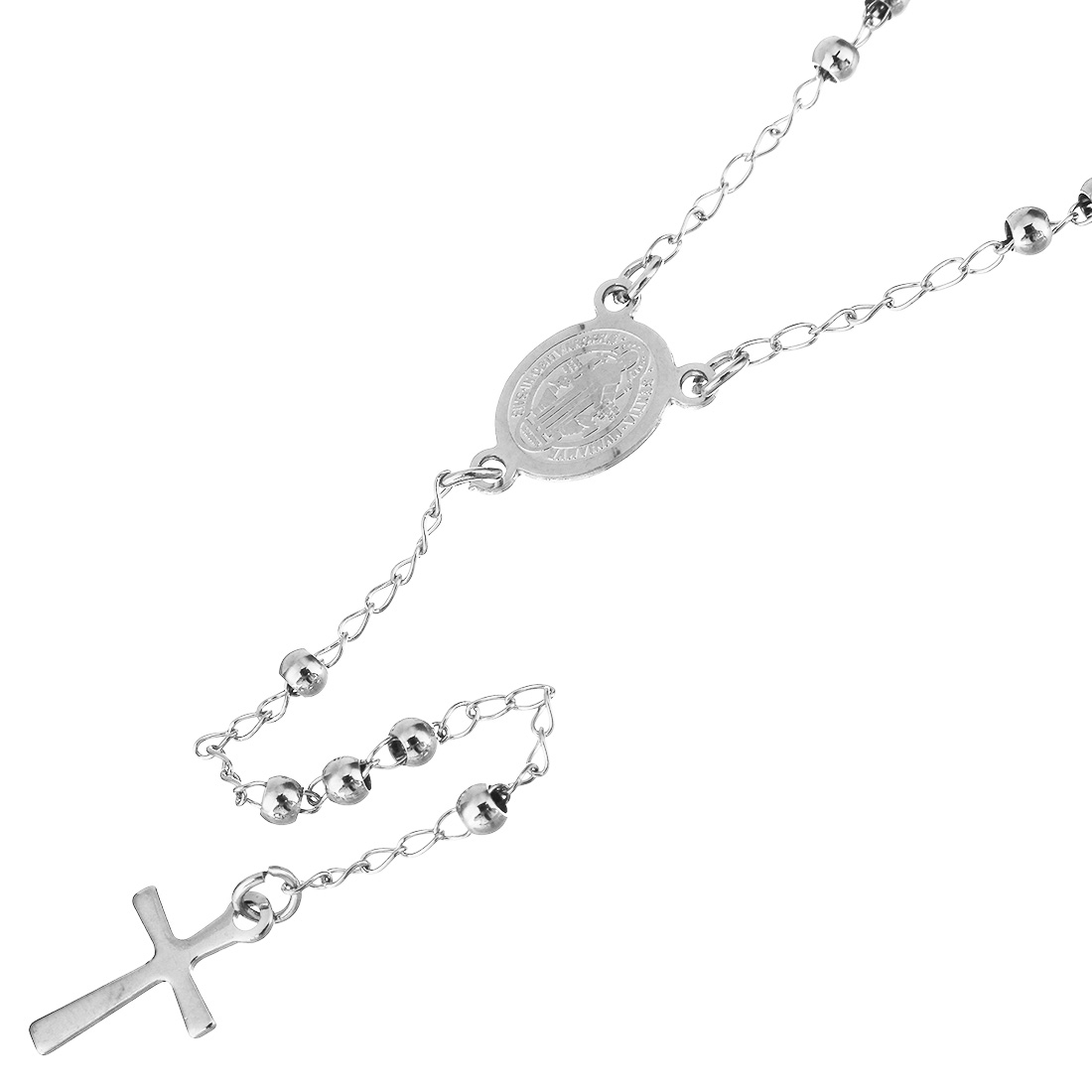 Ocelový náhrdelník - růženec s křížem
