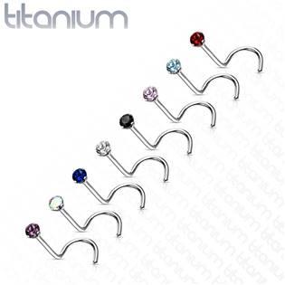Zahnutý piercing do nosu - titan, kamínek 2 mm