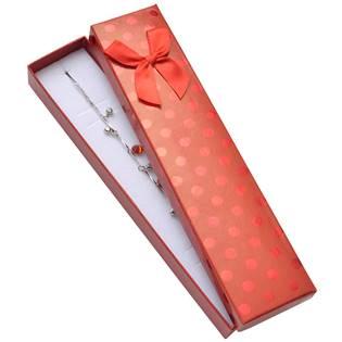 KR0304-R Dárková krabička na náramek, červená s lesklými puntíky