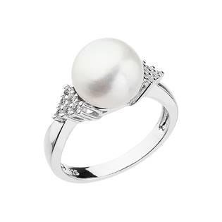 Stříbrný prsten s bílou říční perlou